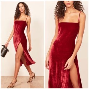 NEW Reformation Ariana Velvet slip dress